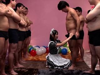 JAV star Airi Natsume CFNM maid blowjob cumshot Subtitled