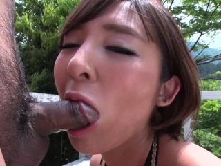 Japanese brunette, Runa Hagawa sucks dick, well-stacked