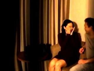 Mature asian milf kissing with voyeur